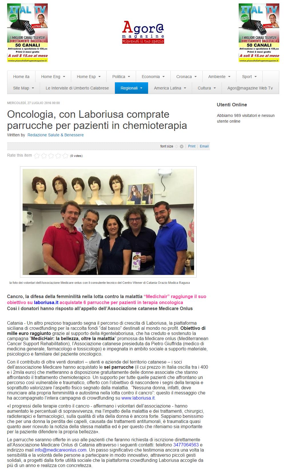 AGORA Oncologia  con Laboriusa comprate parrucche per pazienti in chemioterapia